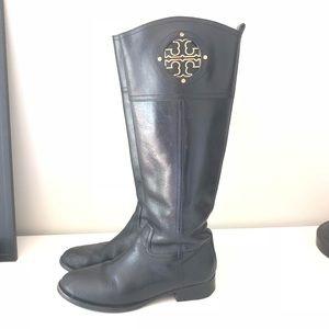 Tory Burch Kiernan riding boots. Black size 8